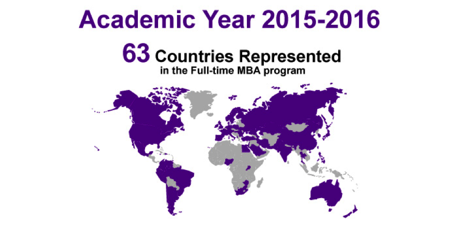 Countries Represented in the Full-Time MBA Program