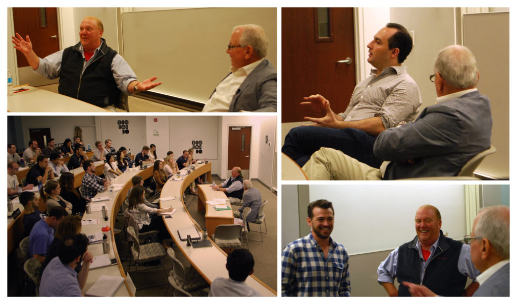 "Professor Russell Winer's Spring 2016 core marketing classes invite Eataly's Co-owner and CFO to Stern for a visit. Clockwise from top left: 1) Chef Mario Batali holds a Q&A with Professor Winer. 2) Eataly CFO Adam Saper talks with students about running New York City's most popular ""living market."" 3) Mr. Batali and Professor Winer chat with students before class. 4) Mr. Batali draws a packed Stern class for a discussion on restaurants, the food business, and how Eataly found success. (Photo credit: Keith Riegert for the Stern Opportunity—read more about the visit here.)"