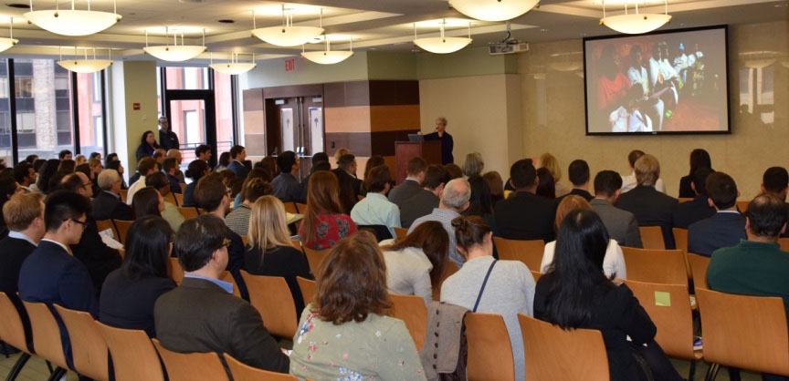 Susan Silbermann, President and General Manager of Pfizer Vaccines and a Stern alumna, addresses a packed room as the keynote speaker at Stern's Healthcare Conference last October. (Photo credit: Stern Healthcare Association)